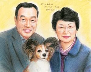 ご両親とペットのリアルタッチ似顔絵プレゼント