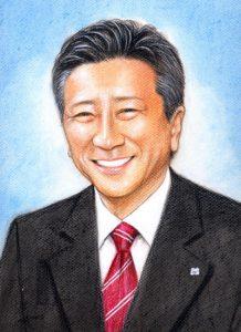 還暦祝いの色鉛筆肖像画