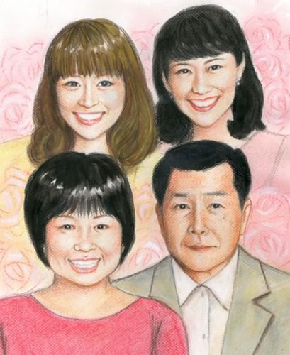 ご家族の色鉛筆肖像画