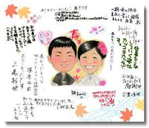 結婚お祝いの似顔絵寄せ書き色紙