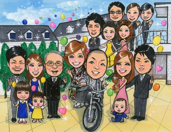 結婚祝いに家族の似顔絵、バイク入り