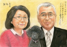 ご両親とペットのリアルタッチ肖像画タイプ