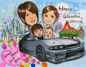 愛車GT-Rに乗った家族の似顔絵