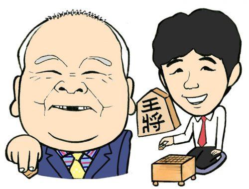 ひふみんと藤井聡太四段の似顔絵イラスト